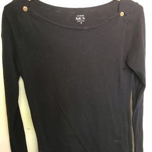 J Crew black knit top with gold buttons